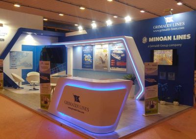 Grimaldi Lines stands construction for travel trade show